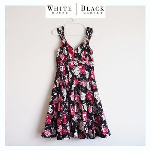 WHBM Floral Black Pink A-line pleated Dress sz 6